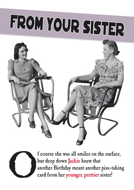 Funny Birthday Card For Older Sister Card for older sister from