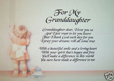 PERSONALISED POEM FOR GRANDDAUGHTER - LAMINATED GIFT