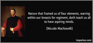 ... regiment, doth teach us all to have aspiring minds. - Niccolo