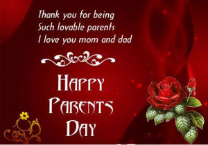 Beautiful Red Happy Parents's Card With Parents' Day Quotes From ...