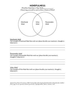 DBT Mindfulness Exercise (Homework Assignment #1 ) Adapted from Marsha ...