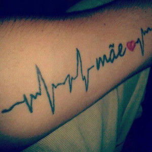mom heartbeats tattoo with the word mom family tattoos mom tattoos ...