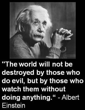 Popular Celebrity Quote by Albert Einstein~ The world will not be ...