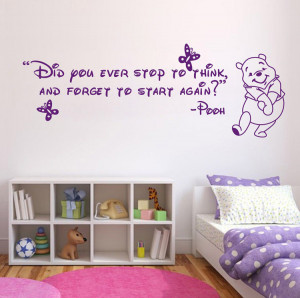 Winnie The Pooh Quote Ever Stop Think Wall Sticker Decal Vinyl Decor ...