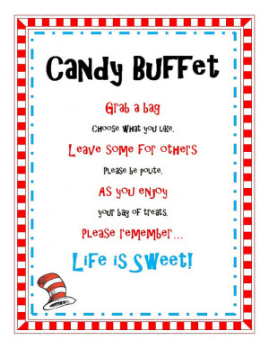 Dr Seuss Birthday Baby Shower Party Candy Buffet Treat Sign Printable