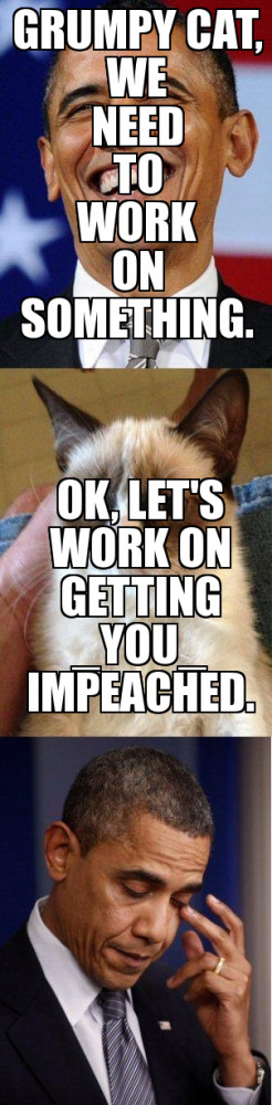 ... Use our meme generator to create your own Barack Obama Grumpy Cat