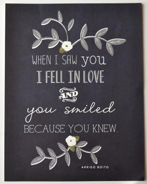 "Arrigo Boito Quote/Famous Italian Poet/""When I saw you I fell in ..."