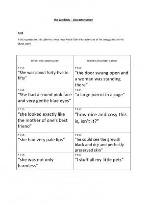 The landlady characterisation - complete