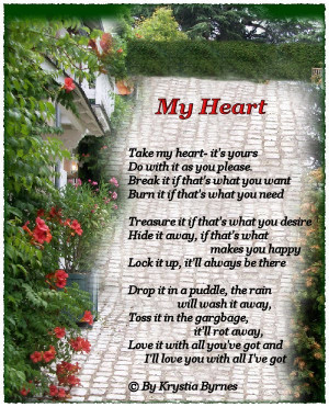 Take my Heart ~ Being in Love Quote