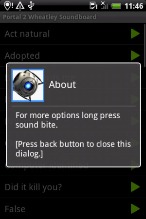 Portal 2 Wheatley Soundboard - screenshot