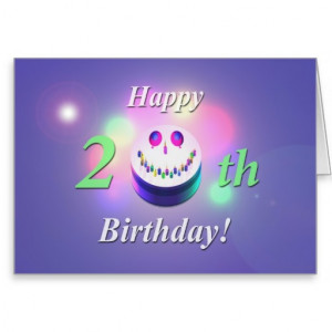 Happy 20th Birthday Smiley Cake Greeting Cards