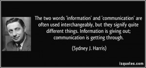 The two words 'information' and 'communication' are often used ...