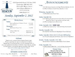 Baptist Church Weekly Bulletin