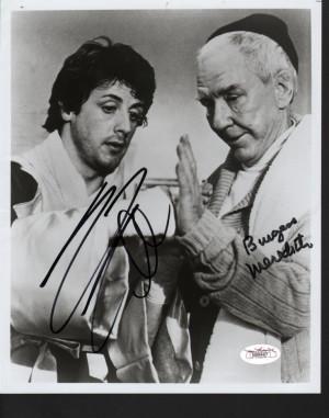 Sylvester Stallone Burgess Meredith Signed 8x10 Photo Rocky JSA LOA ...