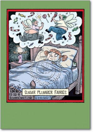 Sugar Plumber Fairies Funny Image Christmas Greeting Card Nobleworks