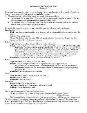 Lens Essay English 8 The critical lens essay asks writers to analyze ...