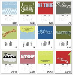 2013 Printable Quote Calendar via Etsy.