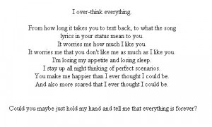 forever, insecure, love, overthink, quote, sad
