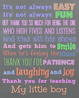 To my son's teachers, Thank You