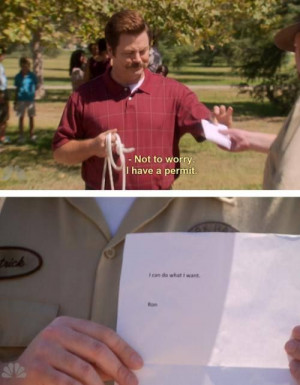 ... Parks And Recreation, Ron Swanson Quotes, Permit, Funny, Humor, Things