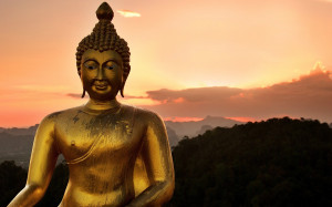 Lord Buddha Nature Statue Golden Smile