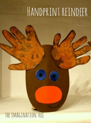 Handprint Cardboard Roll Rudolph Craft. @Dee Smith this would be cute ...