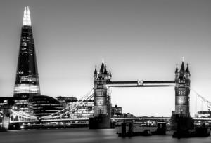 The Shard & City Hall & Tower Bridge at Dusk - Black & White