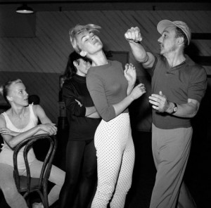 Gene Kelly in rehearsal on April 14, 1959 with Claude Bessy, prima ...
