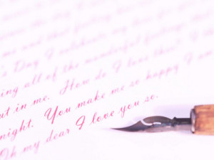 Old-Fashioned Fountain Pen Writing Romantic Love Letter Photographic ...