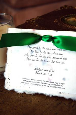 Irish Blessing Plantable Poem Wedding Party Favor Christian ...