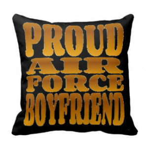 Proud Air Force Boyfriend in Gold Pillow