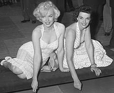 Monroe and Jane Russell putting signatures, hand and foot prints in ...