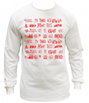 Christmas Quotes Mash Up Ugly Sweater Long Sleeve T-Shirt