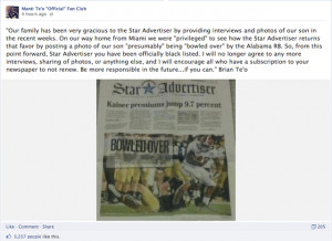 ... -Advertiser Because It Printed A Picture Of His Son Missing A Tackle