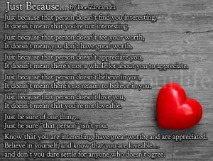 Love Quotes interest worth appreciate believe sure