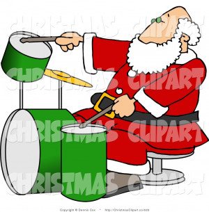 Clipart Santa Claus Uniform Playing Christmas Music Double