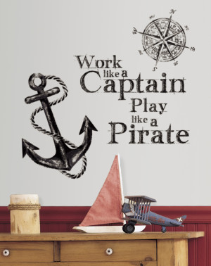 ... Boys Decals More Boys Decals Work Like a Captain Quote Wall Stickers