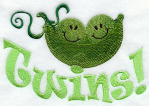 Twins Two Peas in a Pod Embroidered Flour Sack Hand/Dish Towel