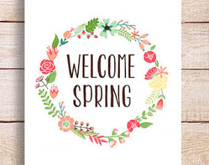 Welcome Spring Art, Printable Spring Decor, Spring Art Print Gift ...