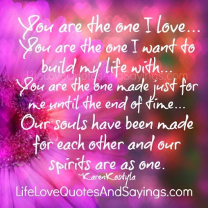 you are the one i love you are the one i want to build my life with ...