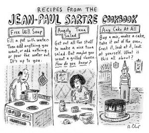 ... Roz Chast, Jeans Paul Sartre, Jean Paul Sartre, Sartre Cookbookcartoon