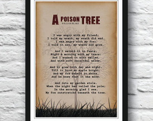 William Blake, A Poison Tree, William Blake Poem, Wall art, Poetry art ...