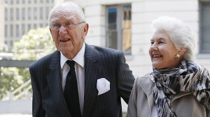 Malcolm Fraser with wife Tamie at Gough Whitlam's funeral last year ...