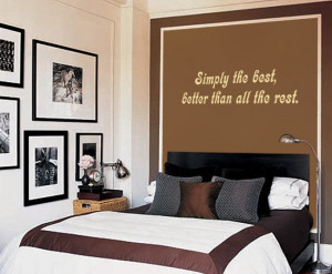 Cream Simply The Best (Tina Turner) Lyric wall decal above a bed