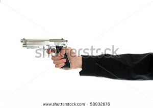 The right to bare arms. White hand holds firearm isolated on white ...