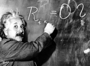 Albert Einstein writes out an equation for the density of the Milky ...