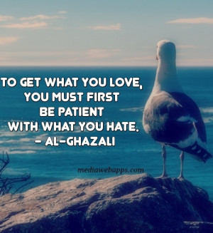 To get what you love, you must first be patient with what you hate ...