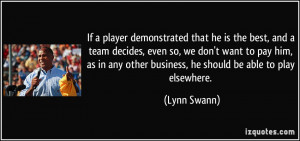 If a player demonstrated that he is the best, and a team decides, even ...