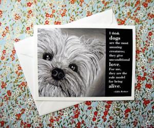 Thanksgiving weekend SALE Dog quote card: Yorkie / Gilda Radner wisdom