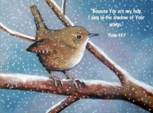 Wren In Snow With Bible Verse Pastel